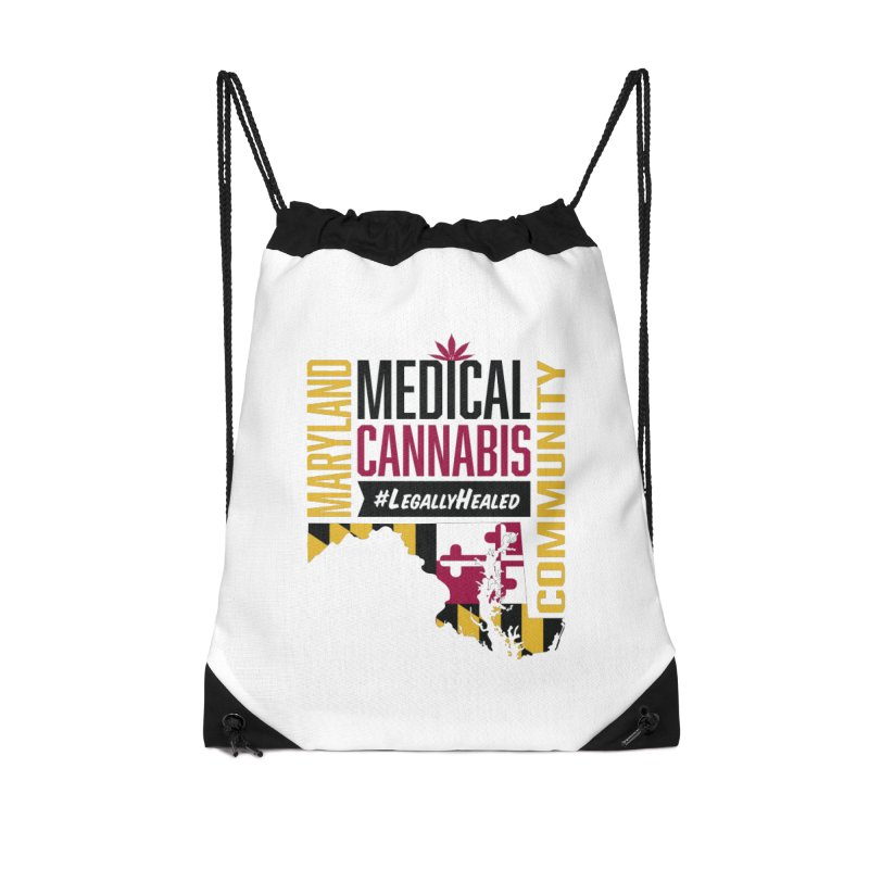 Maryland State Flag Medical Cannabis Community Accessories Drawstring Bag Bag by The Medical Cannabis Community