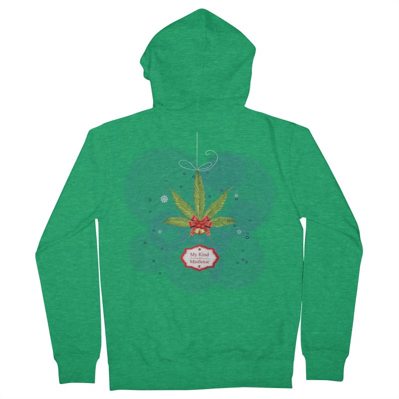 My Kind of Mistletoe Men's French Terry Zip-Up Hoody by The Medical Cannabis Community