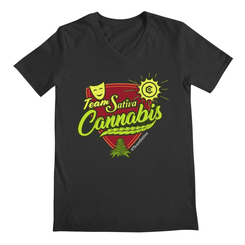 Team Sativa Men's Regular V-Neck by The Medical Cannabis Community