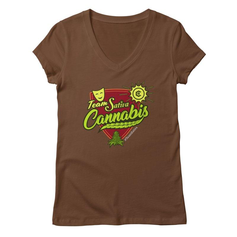 Team Sativa Women's Regular V-Neck by The Medical Cannabis Community