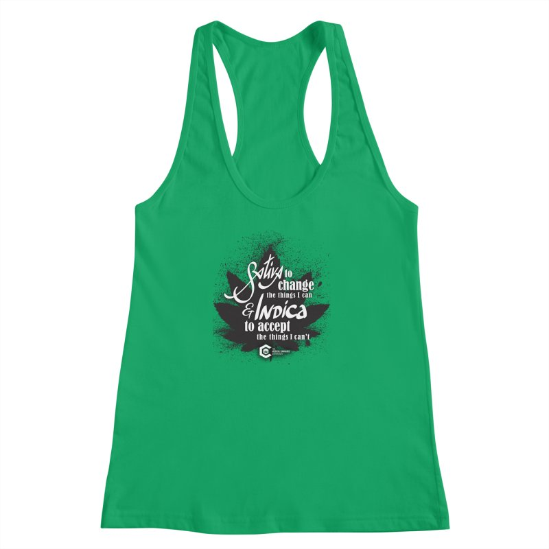 Sativa to change, Indica to accept Women's Racerback Tank by The Medical Cannabis Community