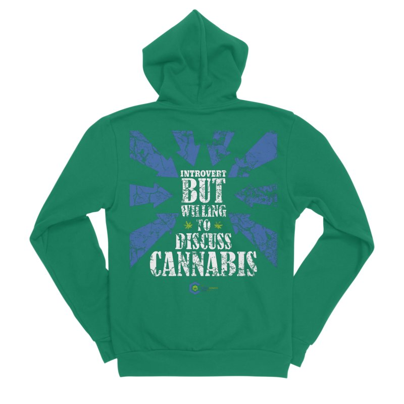Introvert BUT WILLING to discuss cannabis Men's Sponge Fleece Zip-Up Hoody by The Medical Cannabis Community