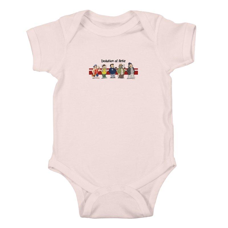 Evolution of Artie Lange Kids Baby Bodysuit by Mike Hampton's T-Shirt Shop