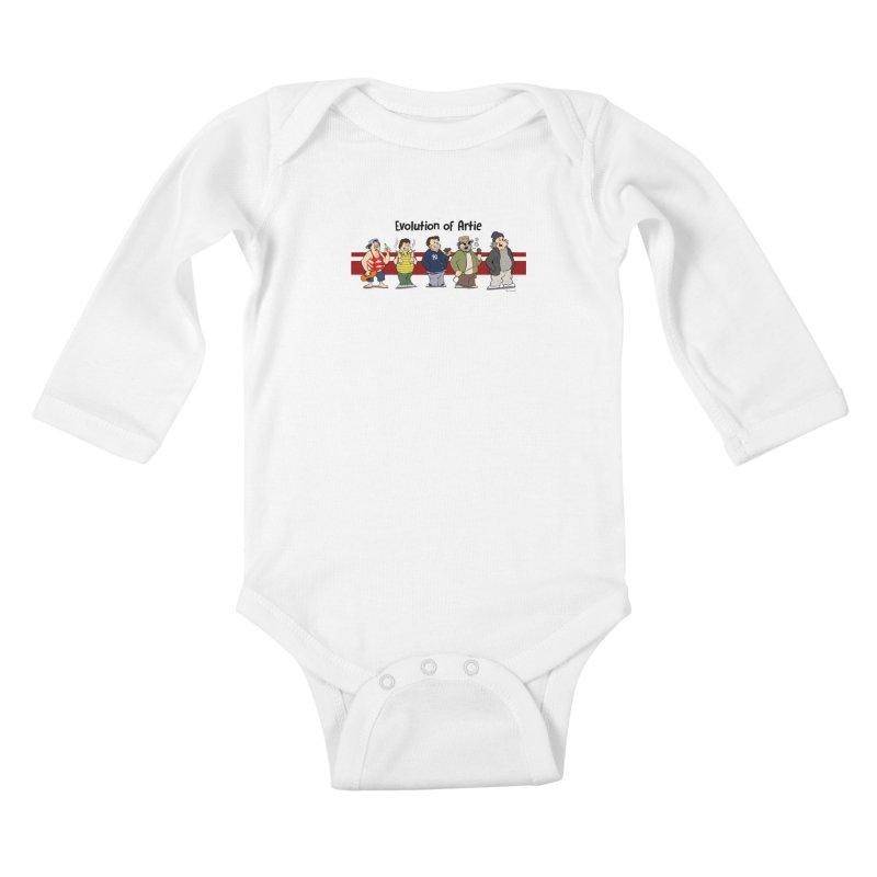 Evolution of Artie Lange Kids Baby Longsleeve Bodysuit by Mike Hampton's T-Shirt Shop