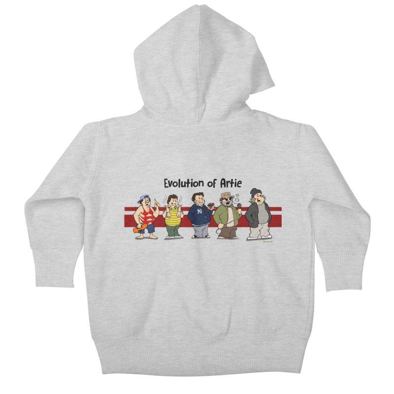 Evolution of Artie Lange Kids Baby Zip-Up Hoody by Mike Hampton's T-Shirt Shop