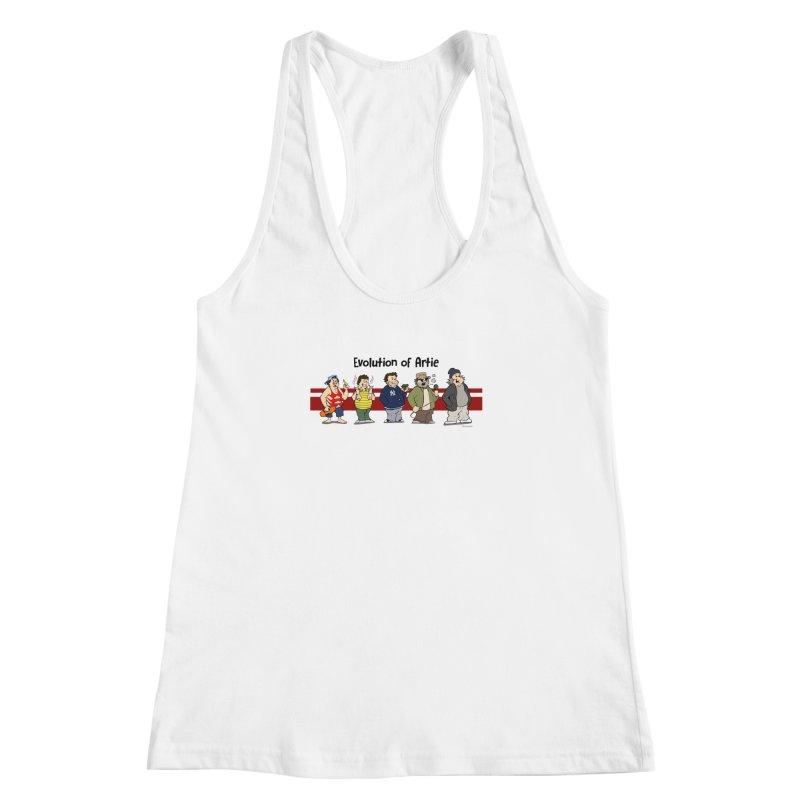 Evolution of Artie Lange Women's Racerback Tank by The Phantom's T-Shirt Shop