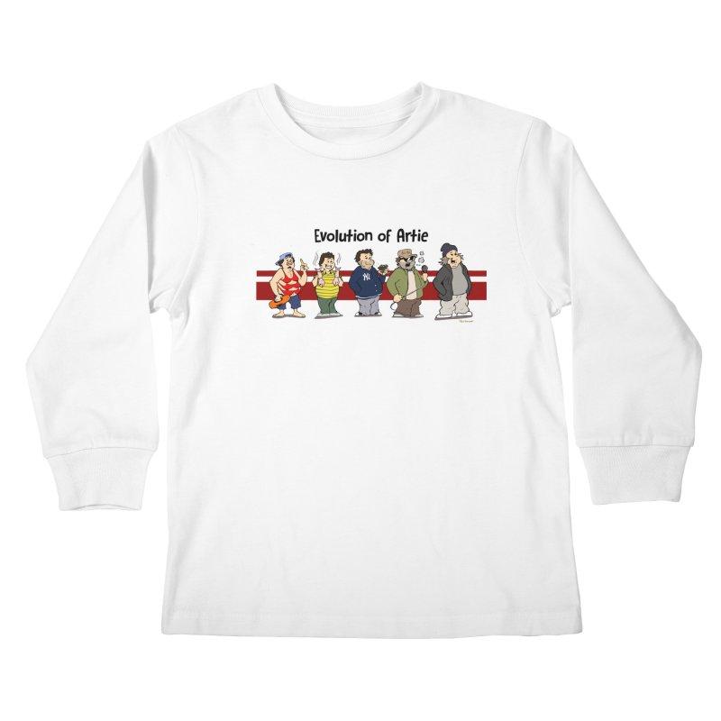 Evolution of Artie Lange Kids Longsleeve T-Shirt by Mike Hampton's T-Shirt Shop