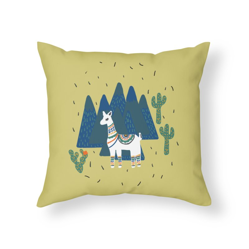 Llama Land Home Throw Pillow by TheSlumberingForest's Artist Shop