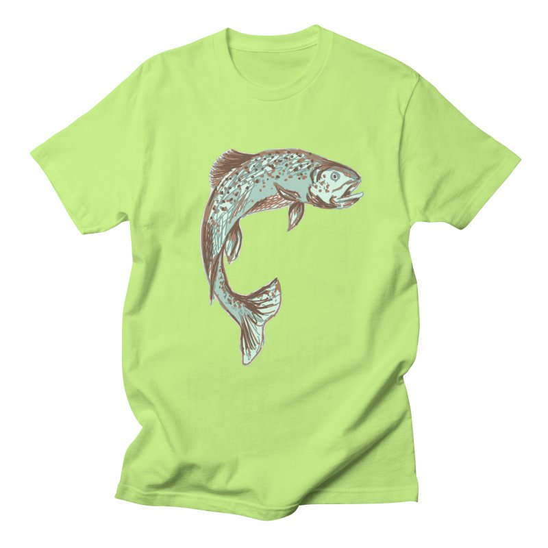 Trout out of water Men's T-Shirt by TheSlumberingForest's Artist Shop