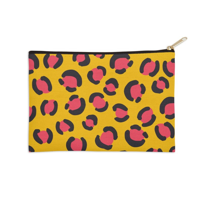 Yellow Leopard Print Accessories Zip Pouch by TheSlumberingForest's Artist Shop