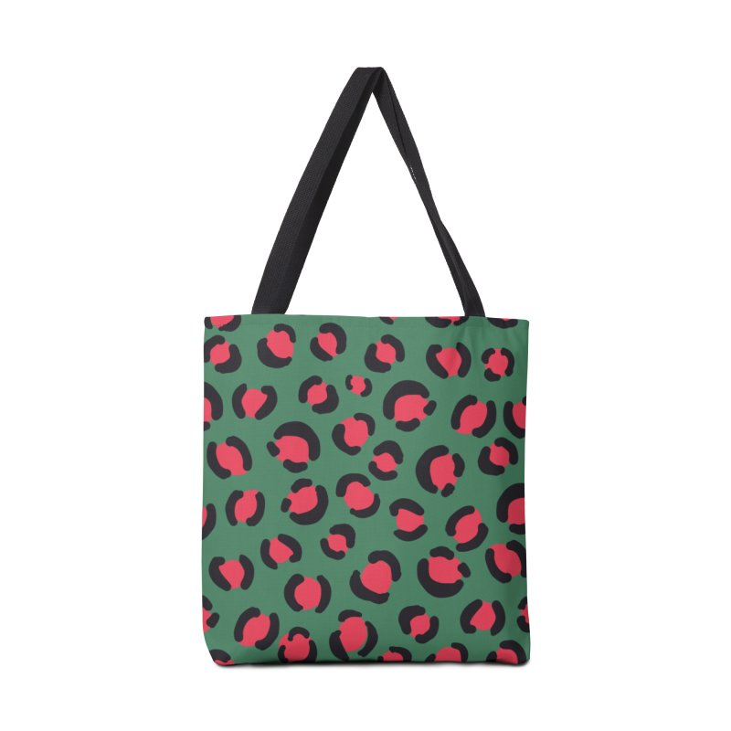 Green Leopard Print Accessories Bag by TheSlumberingForest's Artist Shop