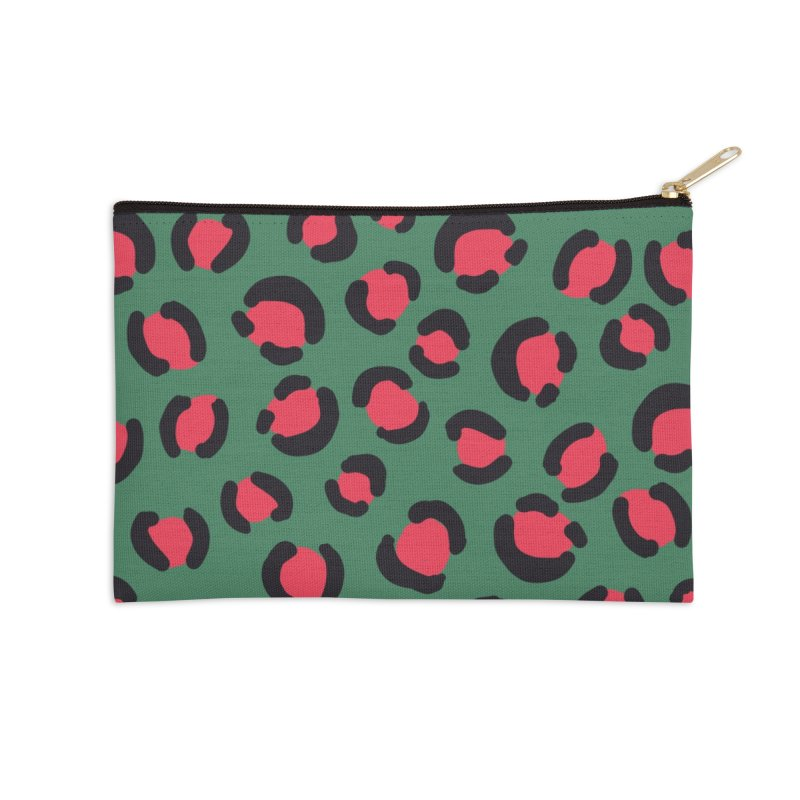 Green Leopard Print Accessories Zip Pouch by TheSlumberingForest's Artist Shop