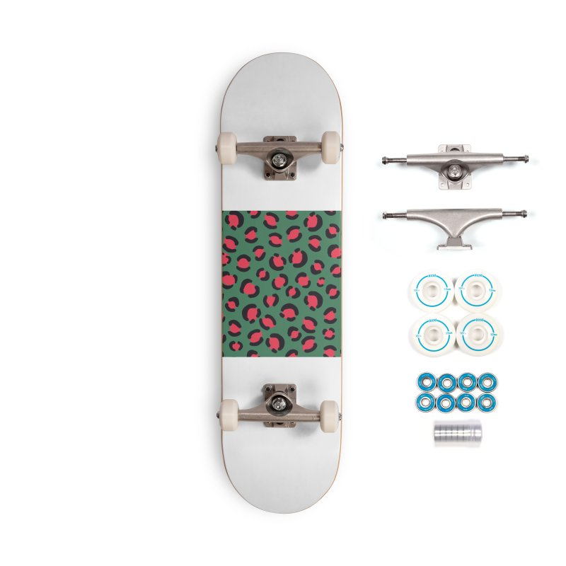 Green Leopard Print Accessories Skateboard by TheSlumberingForest's Artist Shop