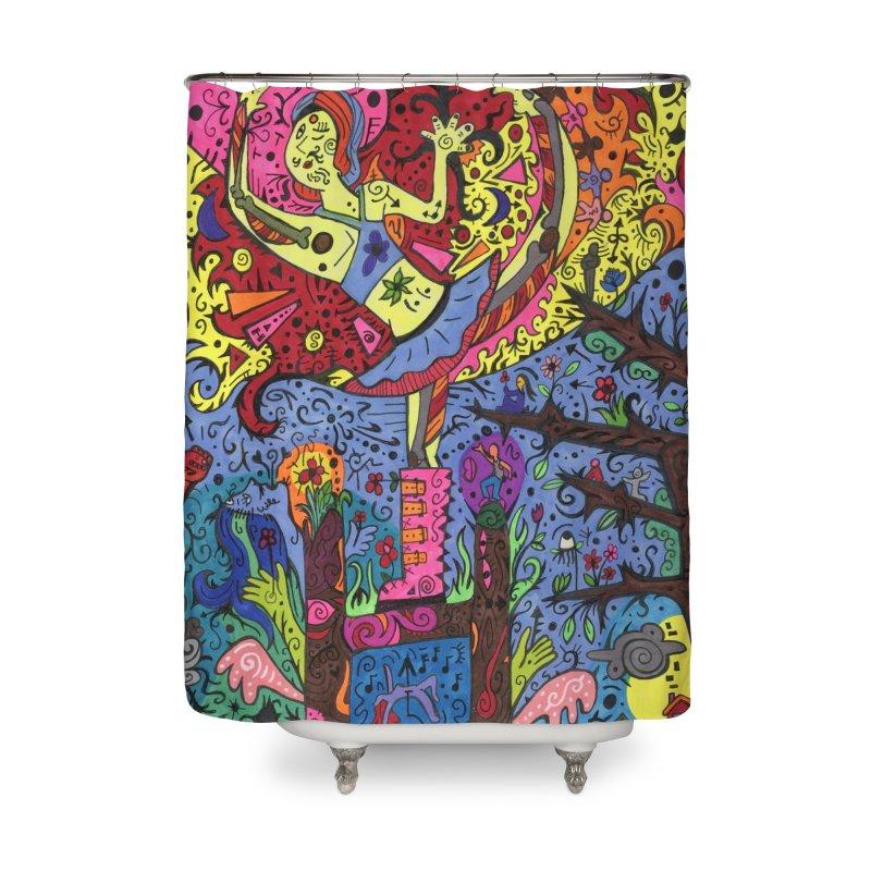 The Patella Tarot - The Sun Home, Décor & Cozy Shower Curtain by Paint AF's Artist Shop