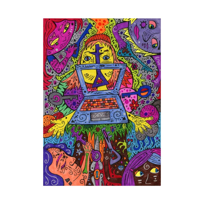 7 of Keys of the Patella Tarot Home, Décor & Cozy Throw Pillow by Paint AF's Artist Shop