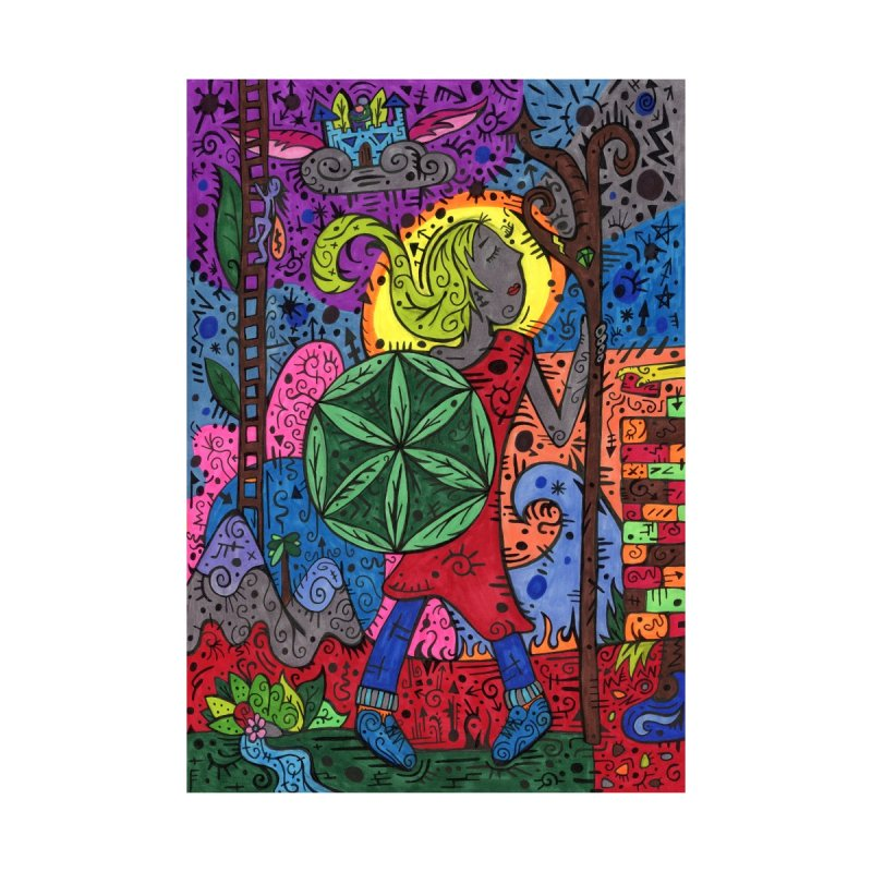 Teen of Leaves of the Patella Tarot Home, Décor & Cozy Throw Pillow by Paint AF's Artist Shop