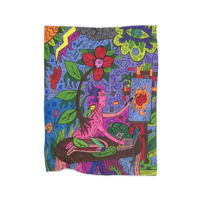 Adults of Leaves of the Patella Tarot Home, Décor & Cozy Blanket by Paint AF's Artist Shop