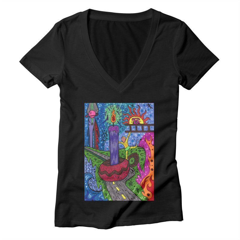 Child of Candles of the Patella Tarot Fitted Clothing Styles V-Neck by Paint AF's Artist Shop