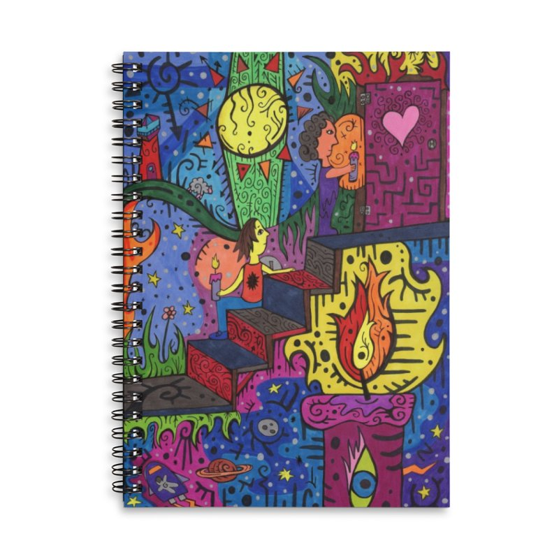 3 of Candles of the Patella Tarot: Opportunities Masks, Gifts & Accessories Notebook by Paint AF's Artist Shop