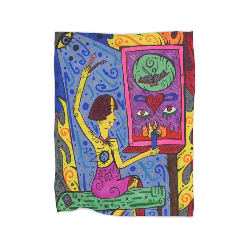 Adult of Candles of the Patella Tarot Home, Décor & Cozy Blanket by Paint AF's Artist Shop