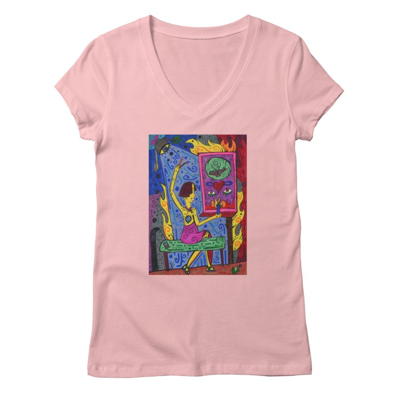 Adult of Candles of the Patella Tarot Fitted Clothing Styles V-Neck by Paint AF's Artist Shop