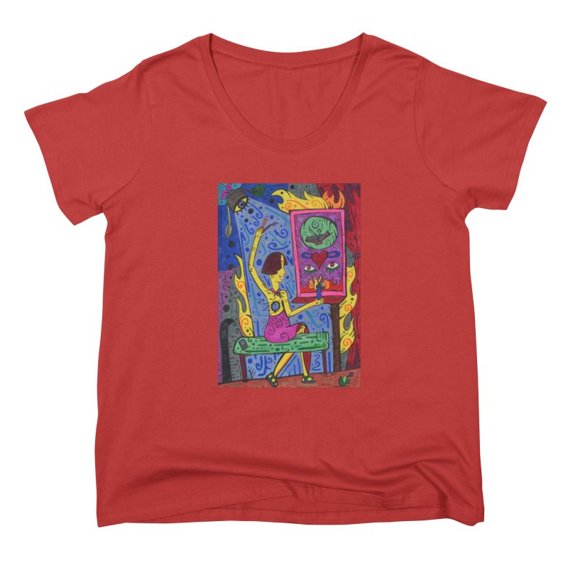 Adult of Candles of the Patella Tarot Fitted Clothing Styles Scoop Neck by Paint AF's Artist Shop