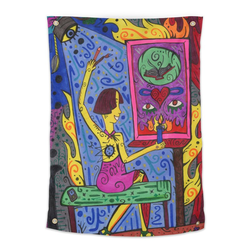 Adult of Candles of the Patella Tarot Home, Décor & Cozy Tapestry by Paint AF's Artist Shop