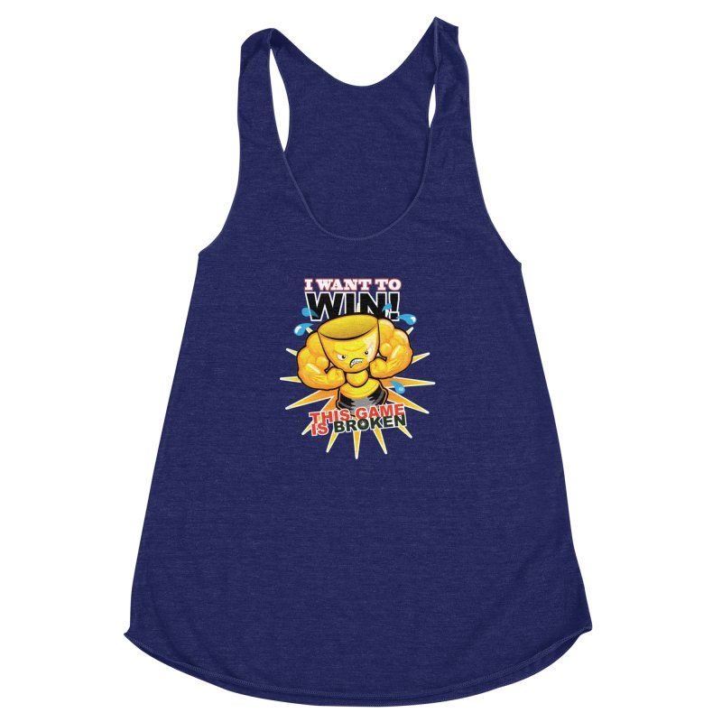I want to WIN! Women's Racerback Triblend Tank by This Game is Broken Shop