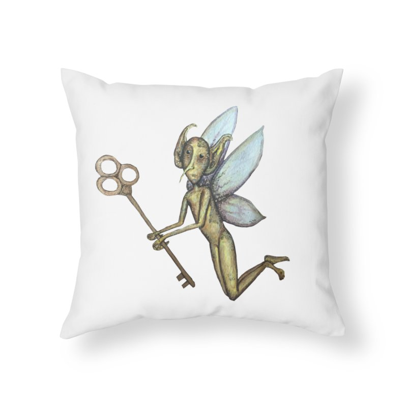 Key-Turn Fairy Home Throw Pillow by Thistleroot's Artist Shop