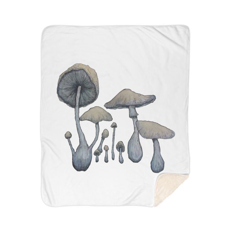 Mushrooms Home Sherpa Blanket Blanket by Thistleroot's Artist Shop