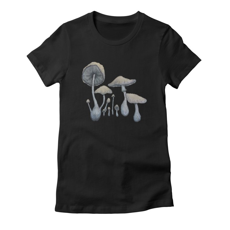 Mushrooms Women's Fitted T-Shirt by Thistleroot's Artist Shop