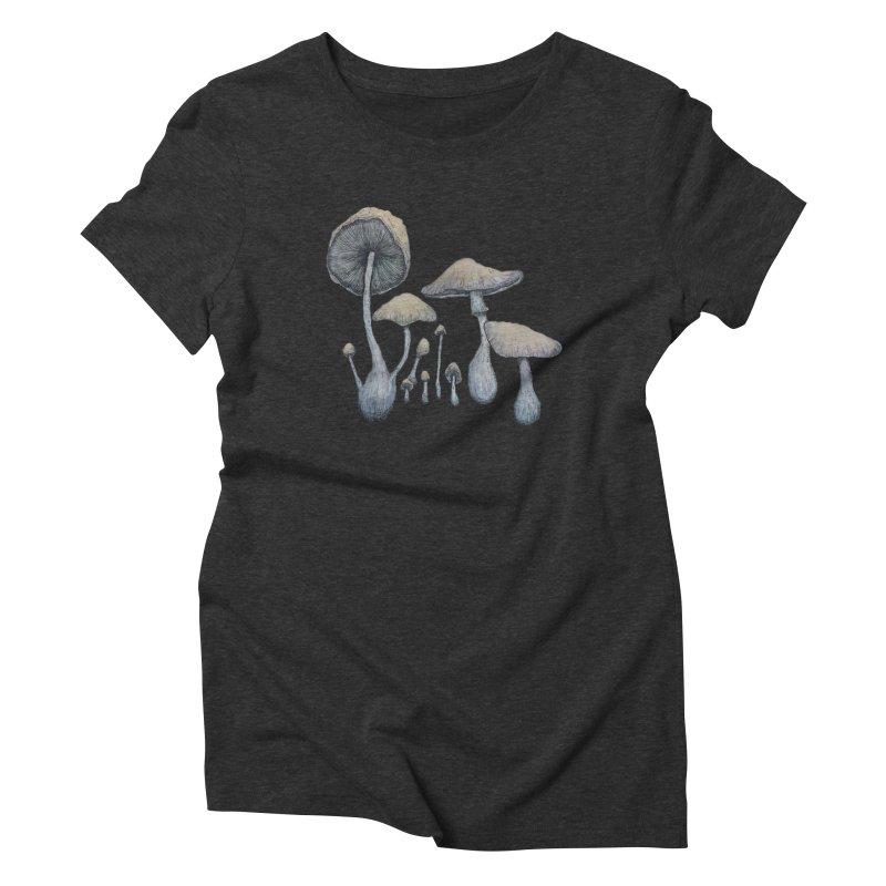 Mushrooms Women's Triblend T-Shirt by Thistleroot's Artist Shop