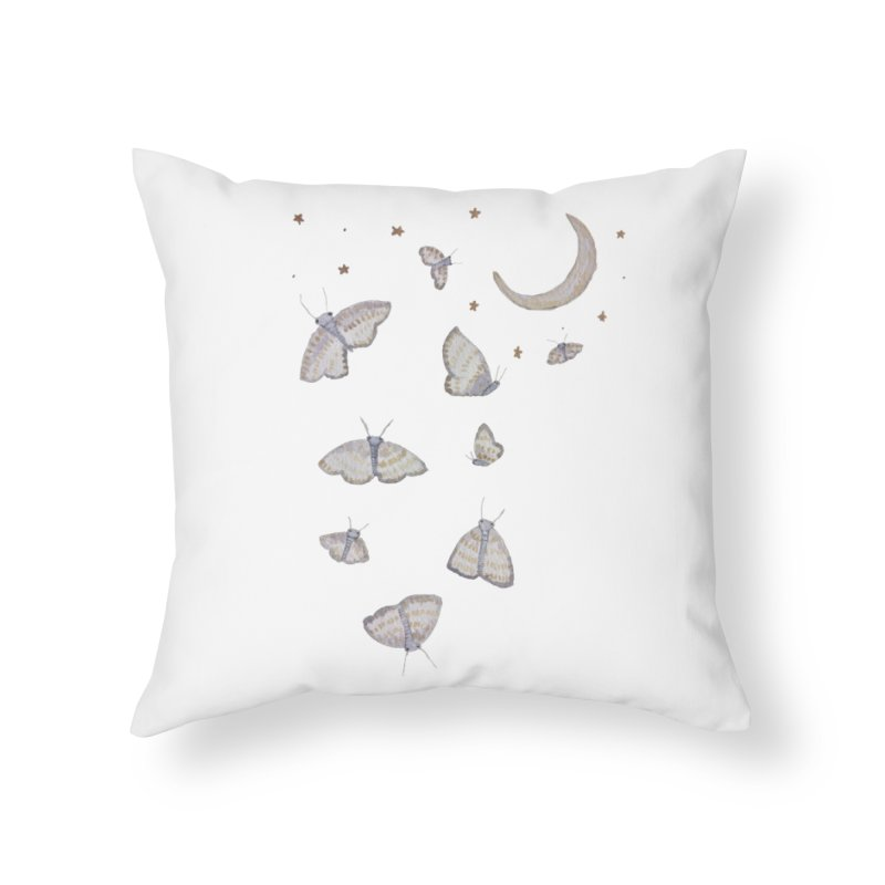 Moon Moths Home Throw Pillow by Thistleroot's Artist Shop