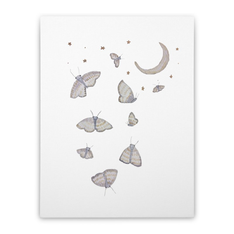 Moon Moths Home Stretched Canvas by Thistleroot's Artist Shop