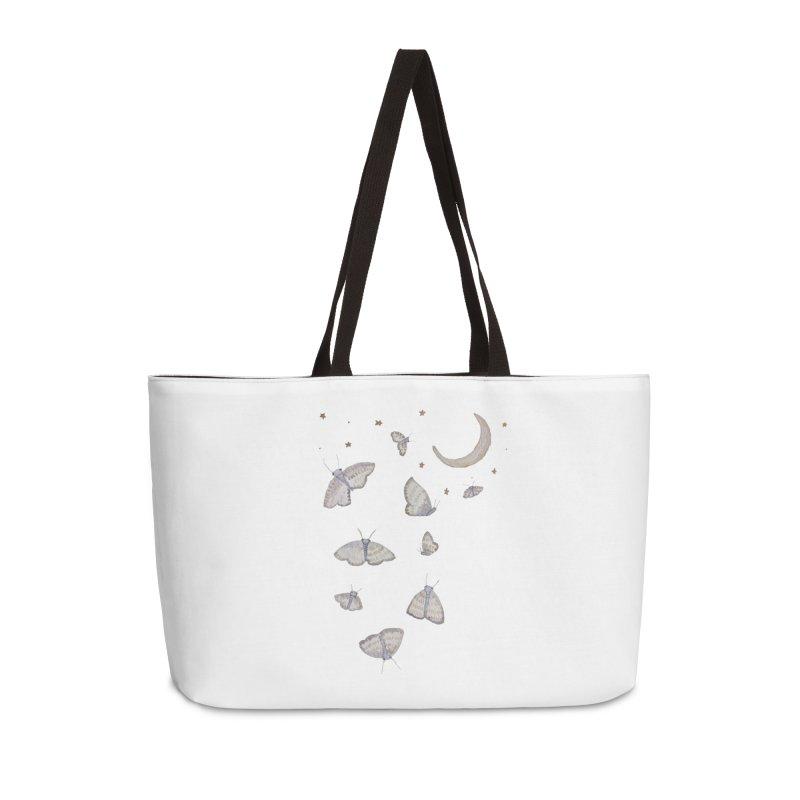 Moon Moths Accessories Weekender Bag Bag by Thistleroot's Artist Shop