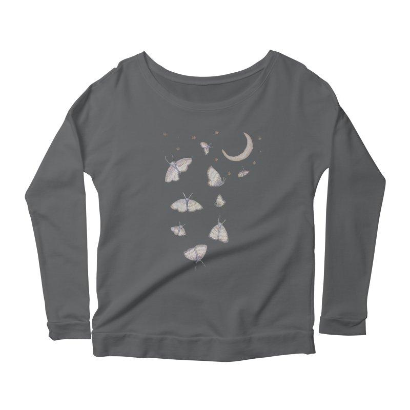 Moon Moths Women's Longsleeve Scoopneck  by Thistleroot's Artist Shop