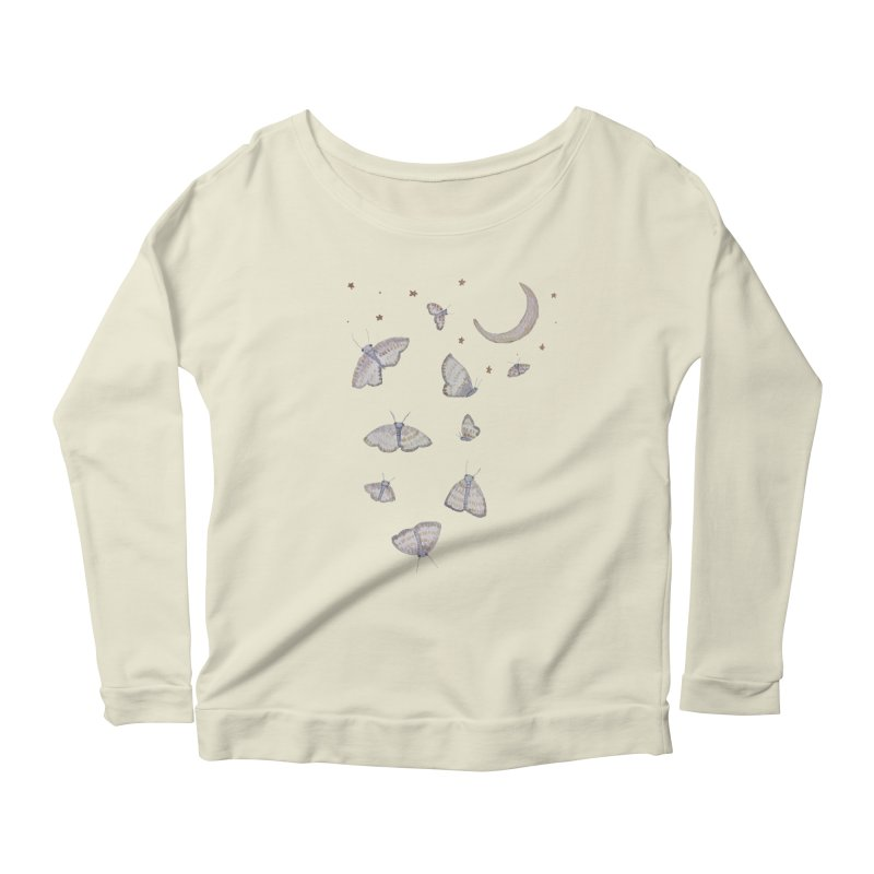 Moon Moths Women's Scoop Neck Longsleeve T-Shirt by Thistleroot's Artist Shop