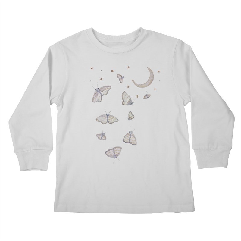 Moon Moths Kids Longsleeve T-Shirt by Thistleroot's Artist Shop