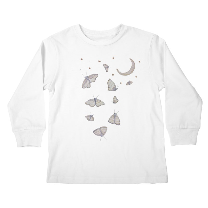 Moon Moths Kids Longsleeve T-Shirt by Thistleroot's Artist Shop