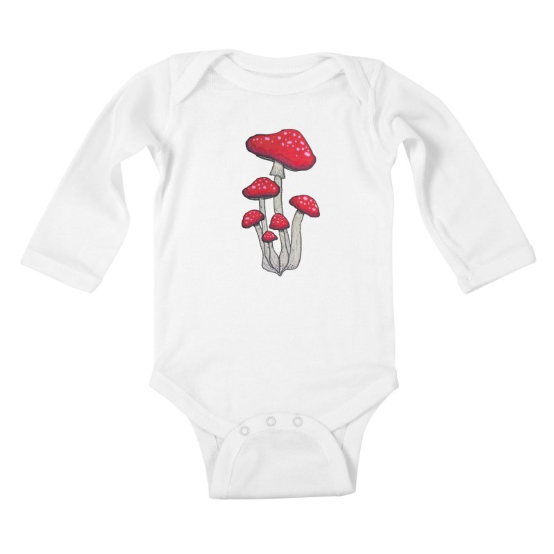 Champignon Rouge Kids Baby Longsleeve Bodysuit by Thistleroot's Artist Shop