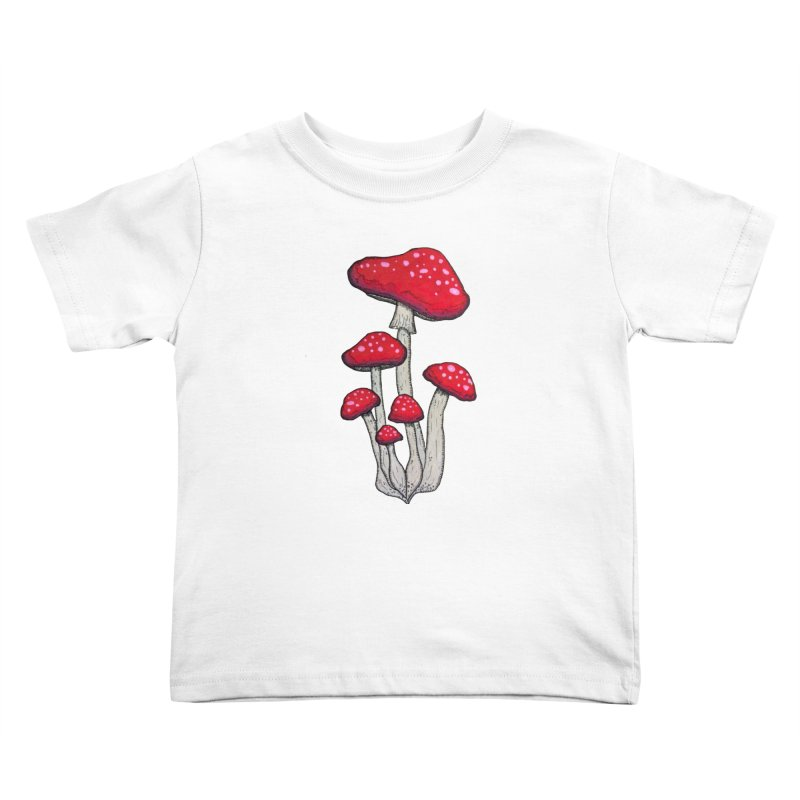 Champignon Rouge Kids Toddler T-Shirt by Thistleroot's Artist Shop
