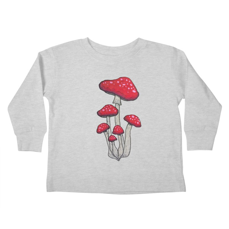 Champignon Rouge Kids Toddler Longsleeve T-Shirt by Thistleroot's Artist Shop