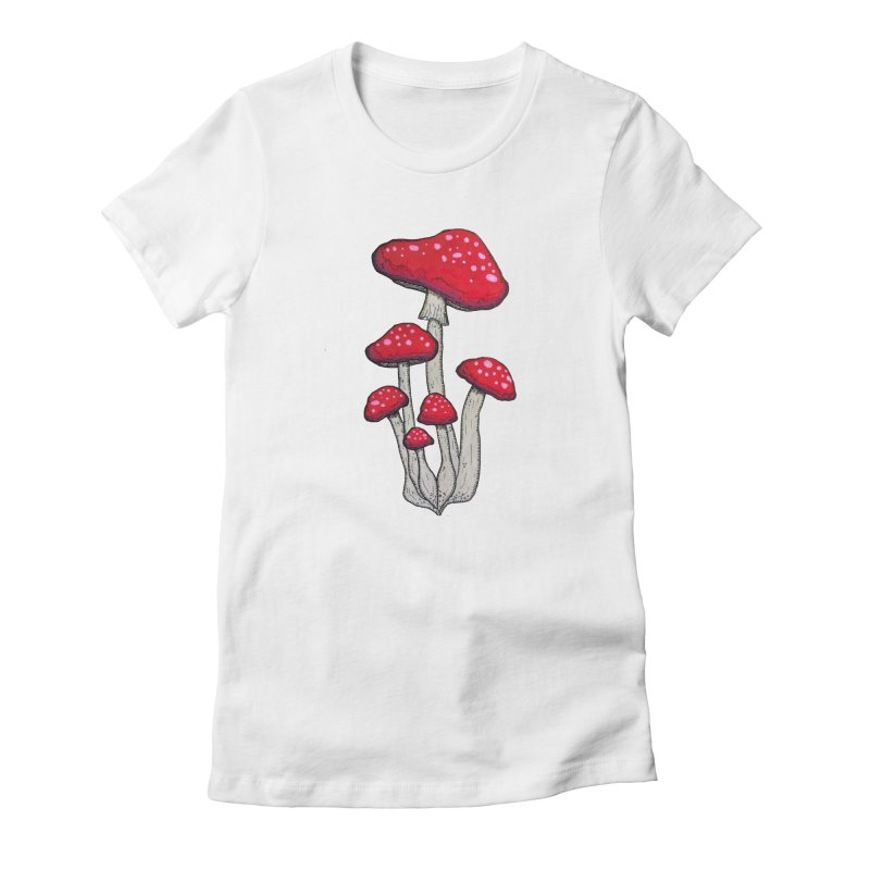 Champignon Rouge Women's Fitted T-Shirt by Thistleroot's Artist Shop