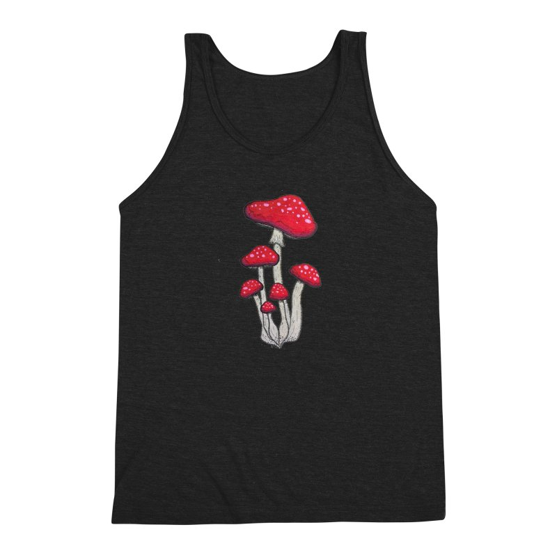 Champignon Rouge Men's Triblend Tank by Thistleroot's Artist Shop