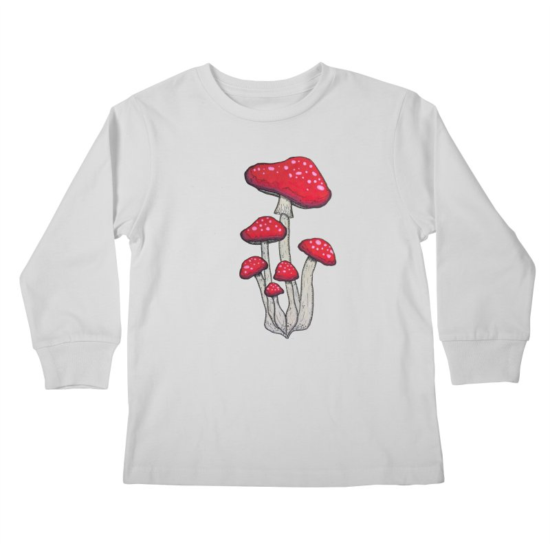 Champignon Rouge Kids Longsleeve T-Shirt by Thistleroot's Artist Shop