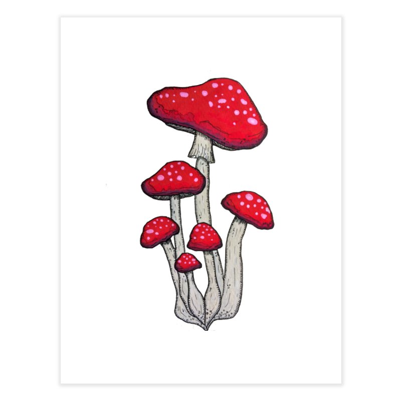 Champignon Rouge Home Fine Art Print by Thistleroot's Artist Shop