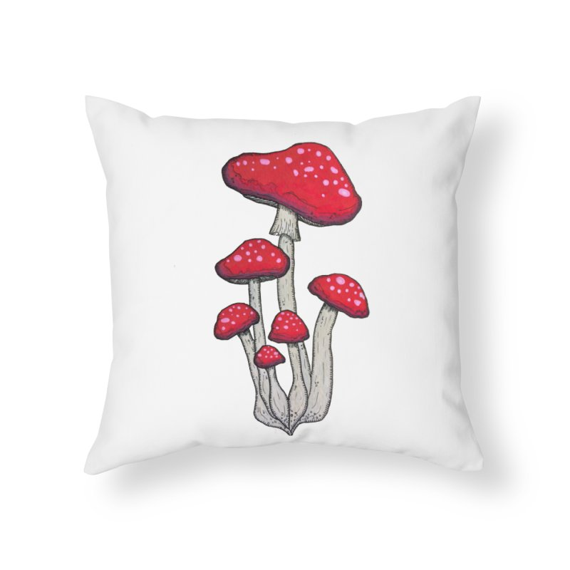 Champignon Rouge Home Throw Pillow by Thistleroot's Artist Shop