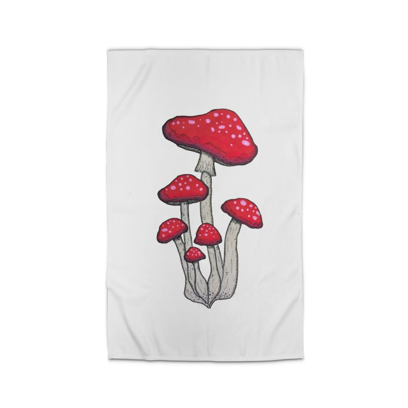 Champignon Rouge Home Rug by Thistleroot's Artist Shop
