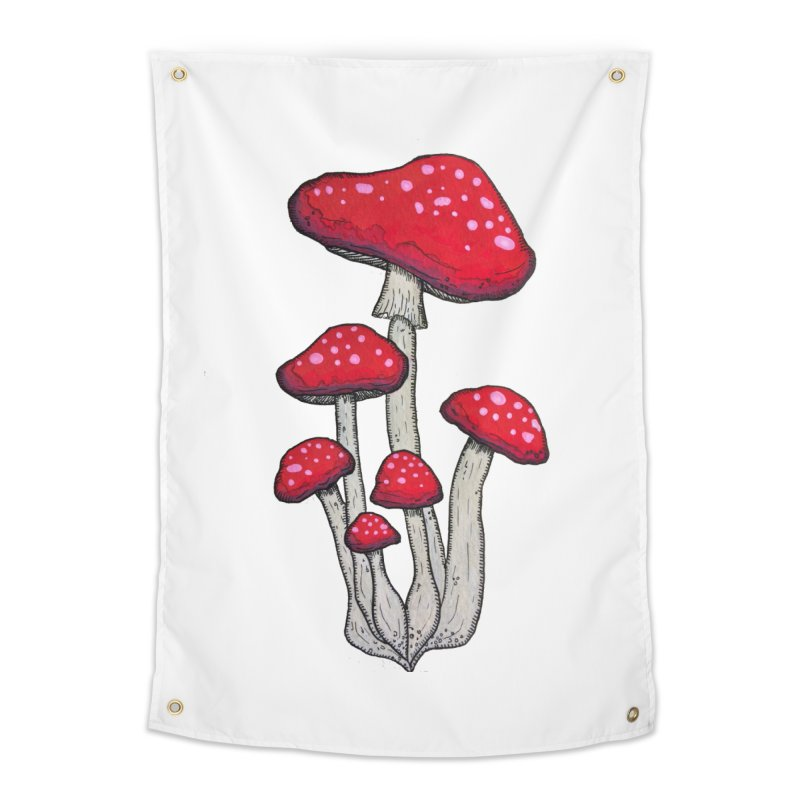 Champignon Rouge Home Tapestry by Thistleroot's Artist Shop