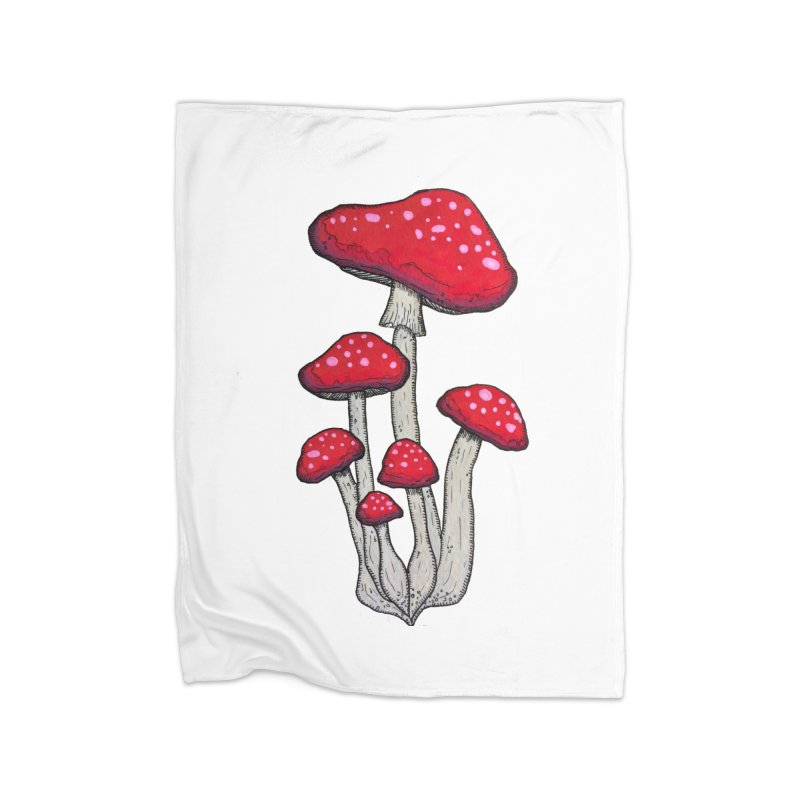 Champignon Rouge Home Fleece Blanket Blanket by Thistleroot's Artist Shop